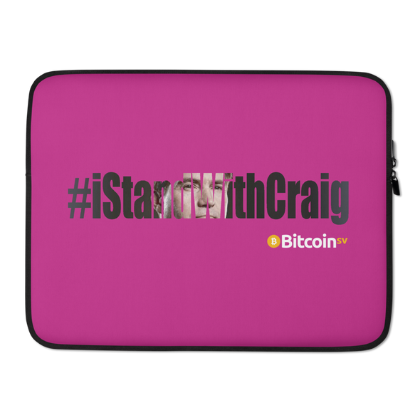 #IStandWithCraig Bitcoin SV Laptop Sleeve Hot Pink 15 in  - zeroconfs