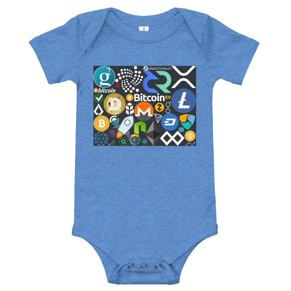 Crypto Calling Baby Bodysuit Heather Columbia Blue 3-6m - zeroconfs