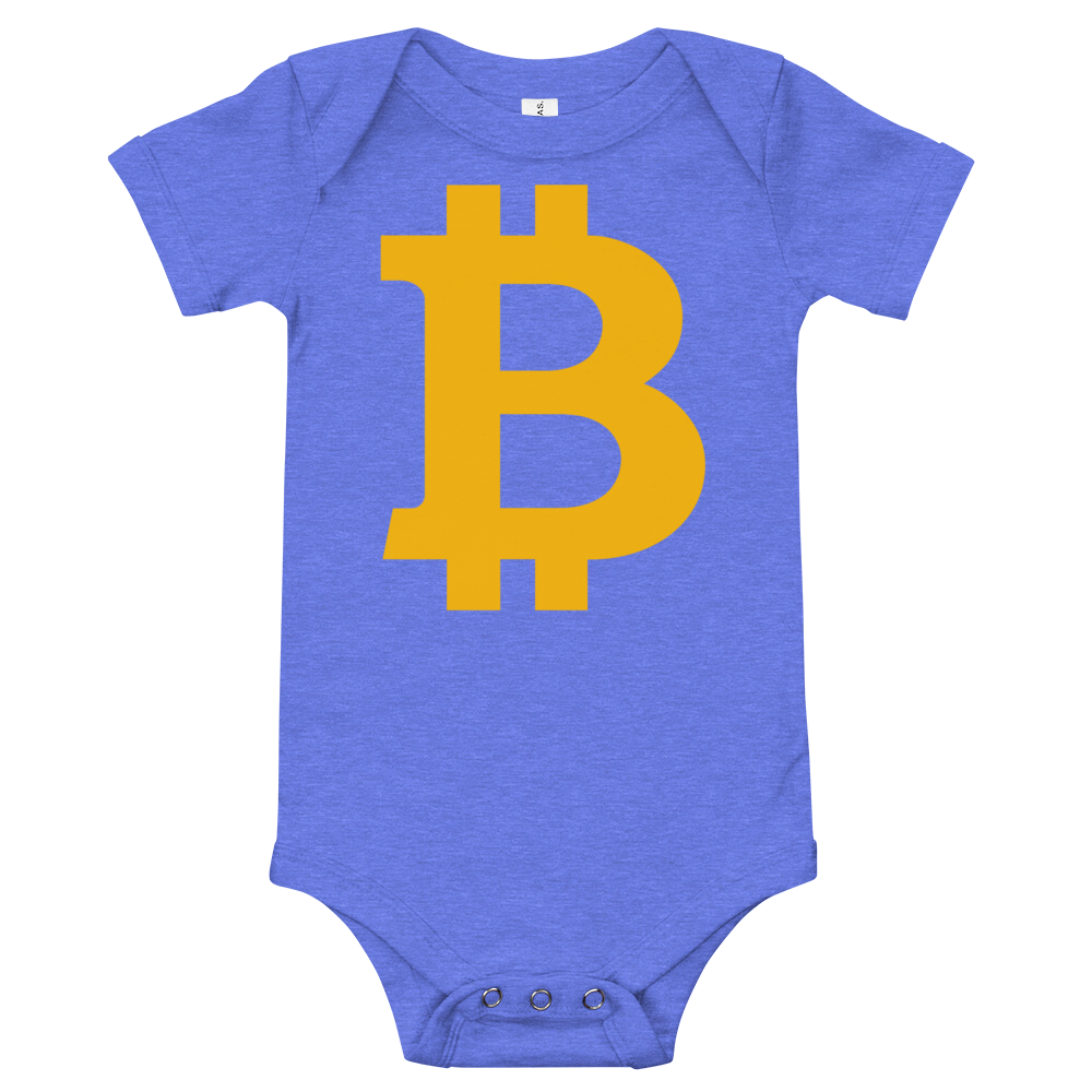 Bitcoin B Baby Bodysuit Heather Columbia Blue 3-6m - zeroconfs