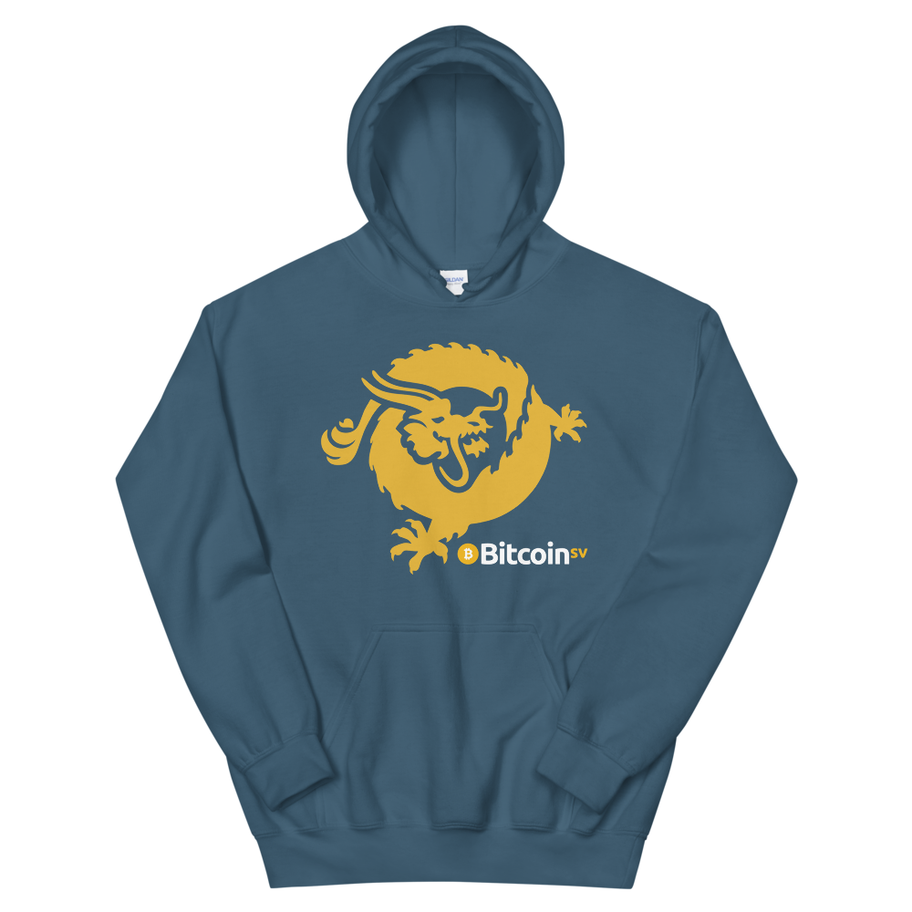 Bitcoin SV Dragon Hooded Sweatshirt Indigo Blue S - zeroconfs