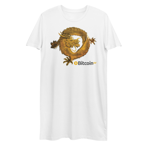 Bitcoin SV Woken Dragon Premium T-Shirt Dress White XS - zeroconfs