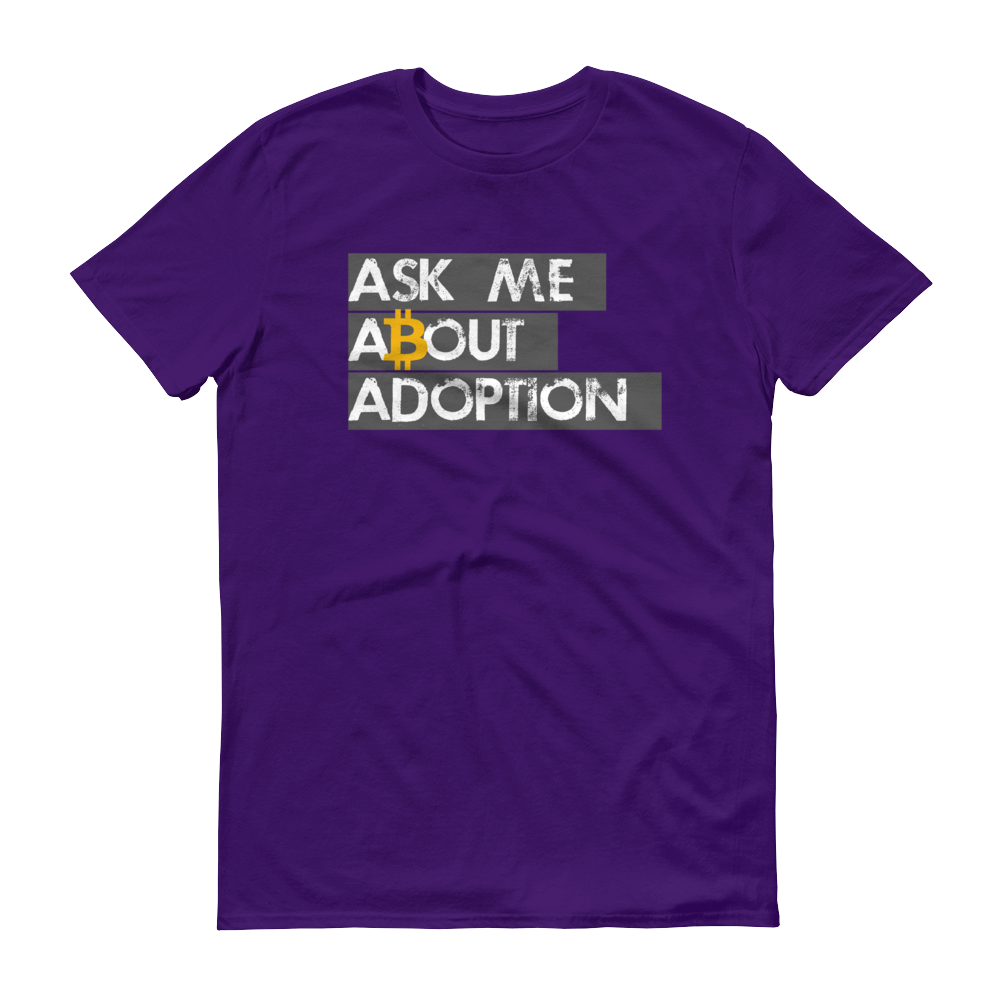 Ask Me About Adoption Bitcoin Short-Sleeve T-Shirt Purple S - zeroconfs