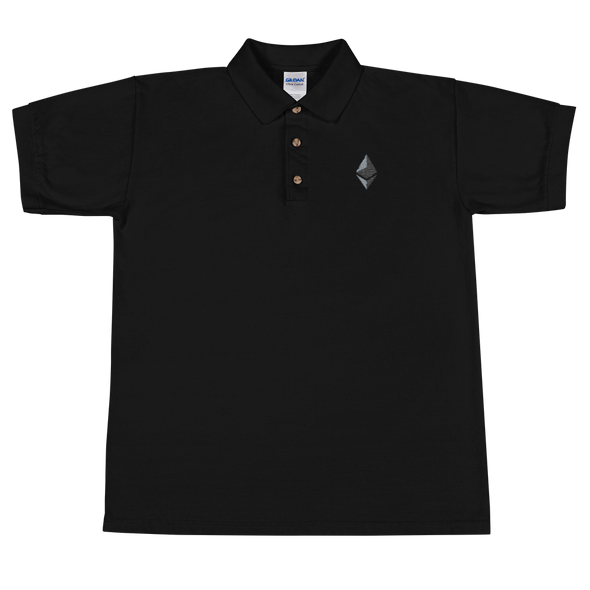 Ethereum Embroidered Polo Shirt Black S - zeroconfs