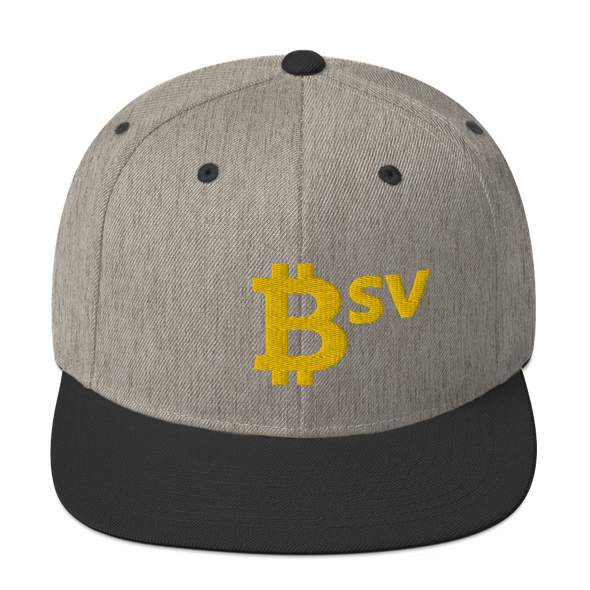 Bitcoin SV BSV Snapback Hat Heather/Black  - zeroconfs