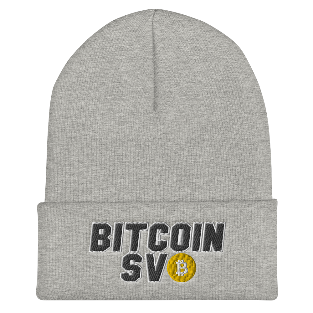 Bitcoin SV Sports Cuffed Beanie Heather Grey  - zeroconfs