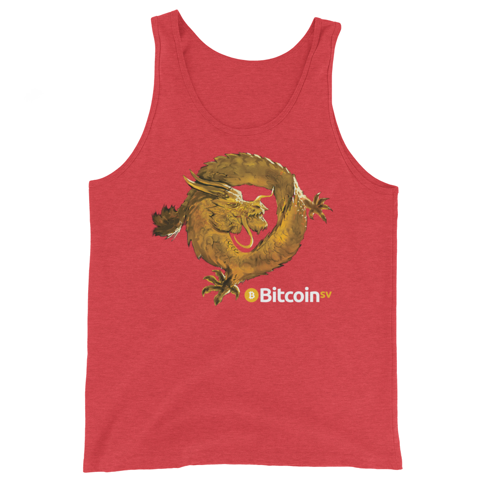 Bitcoin SV Woken Dragon Tank Top Red Triblend XS - zeroconfs