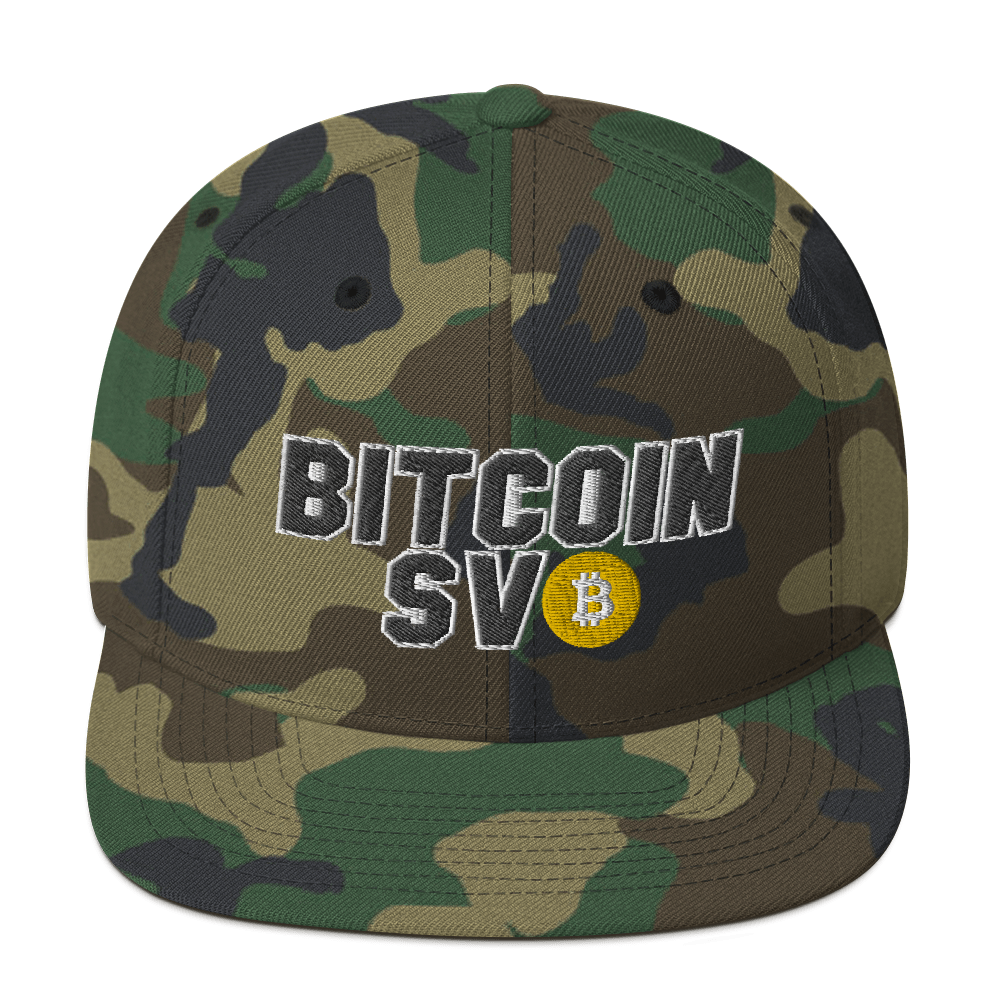 Bitcoin SV Sports Snapback Hat Green Camo  - zeroconfs