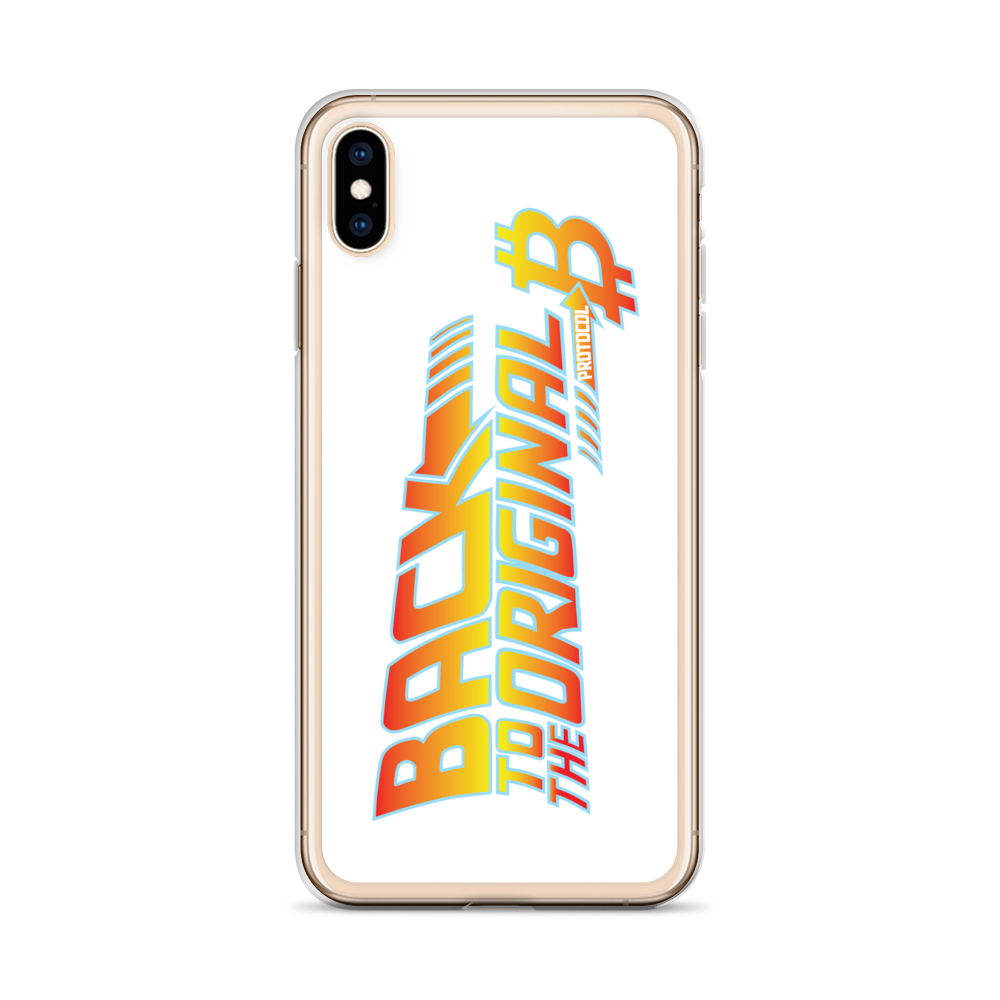 Back To The Original Bitcoin Protocol iPhone Case White   - zeroconfs