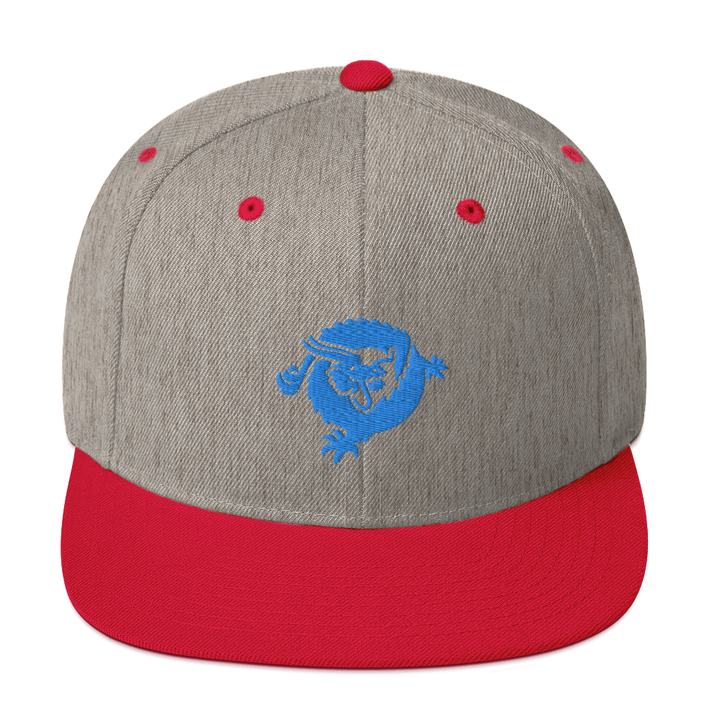 Bitcoin SV Dragon Snapback Hat Blue Heather Grey/ Red  - zeroconfs