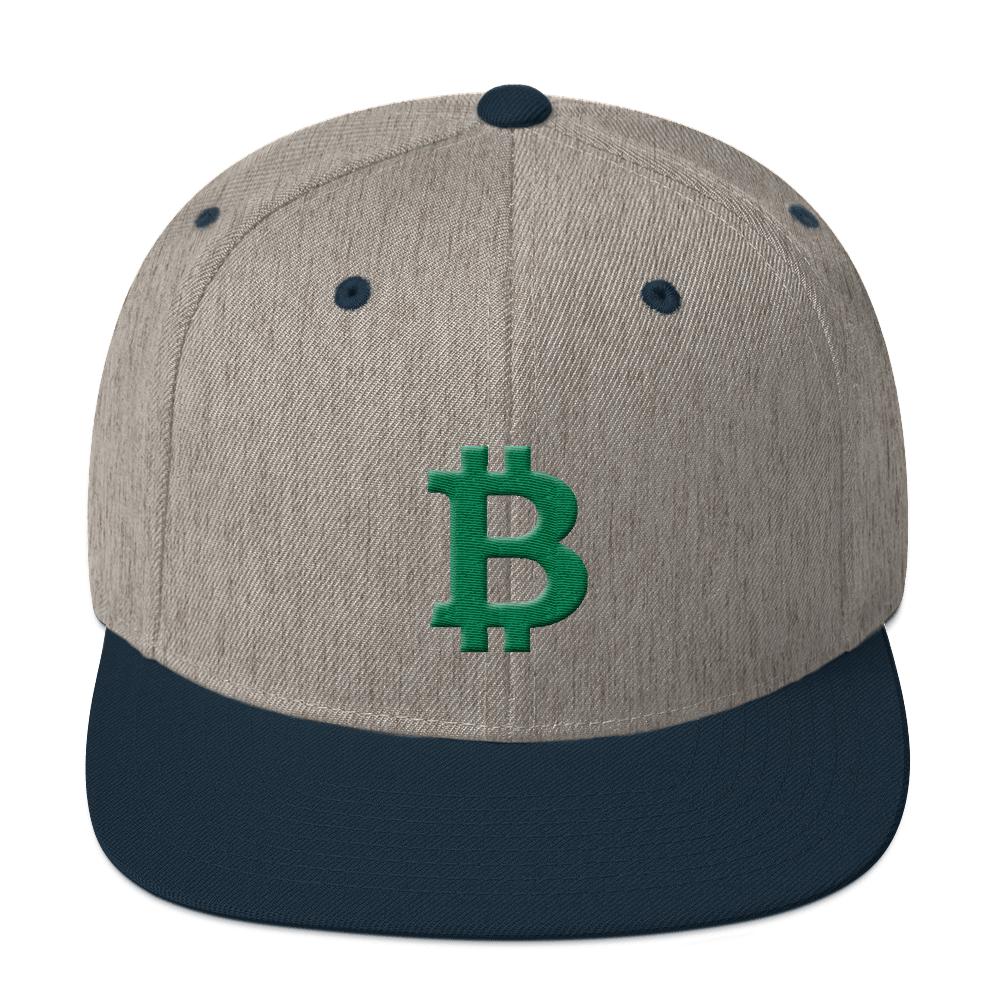 Bitcoin B Snapback Hat Green Heather Grey/ Navy  - zeroconfs