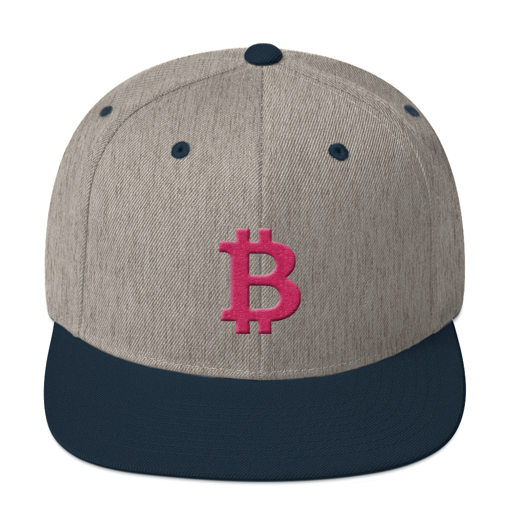 Bitcoin B Snapback Hat Pink Heather Grey/ Navy  - zeroconfs