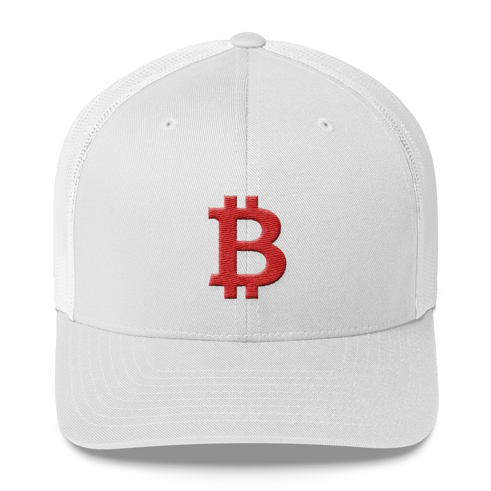 Bitcoin B Trucker Cap Red White  - zeroconfs