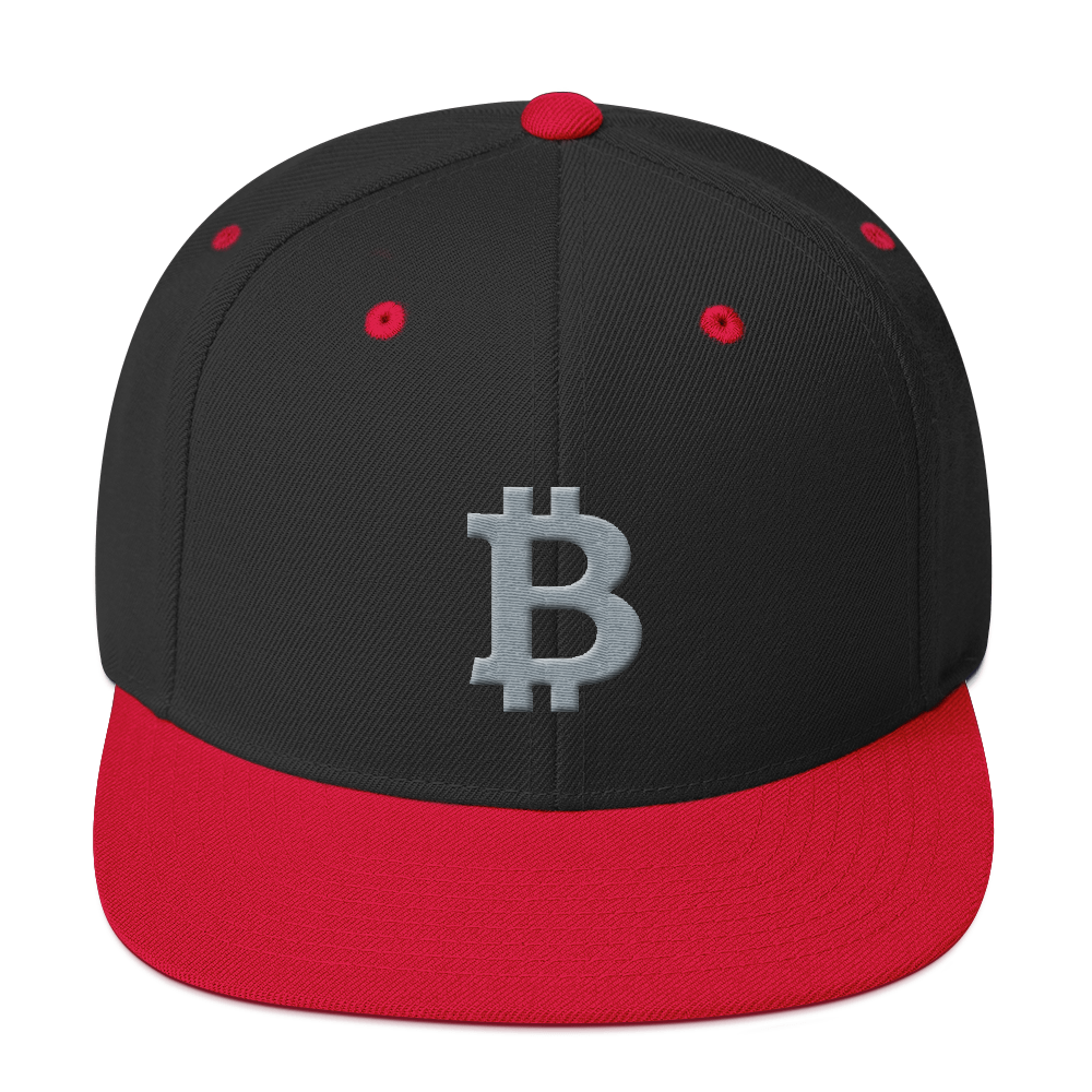 Bitcoin B Snapback Hat Gray Black/ Red  - zeroconfs
