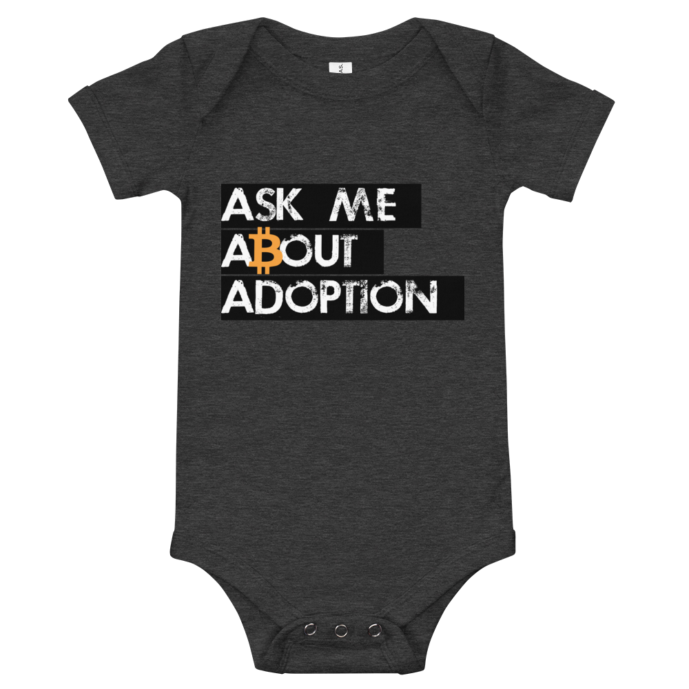 Ask Me About Adoption Bitcoin Baby Bodysuit Dark Grey Heather 3-6m - zeroconfs