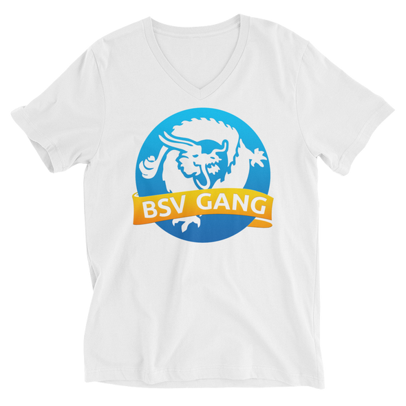 Bitcoin SV Gang V-Neck T-Shirt White S - zeroconfs