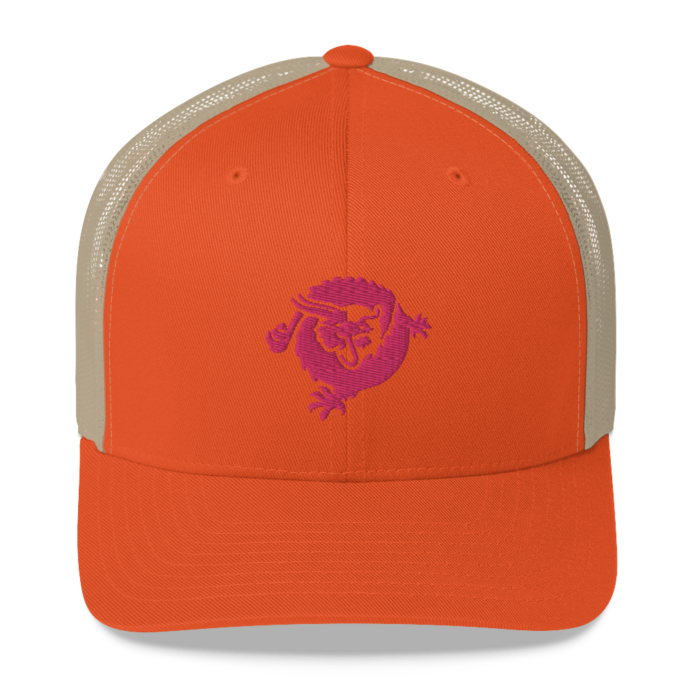 Bitcoin SV Dragon Trucker Cap Pink Rustic Orange/ Khaki  - zeroconfs