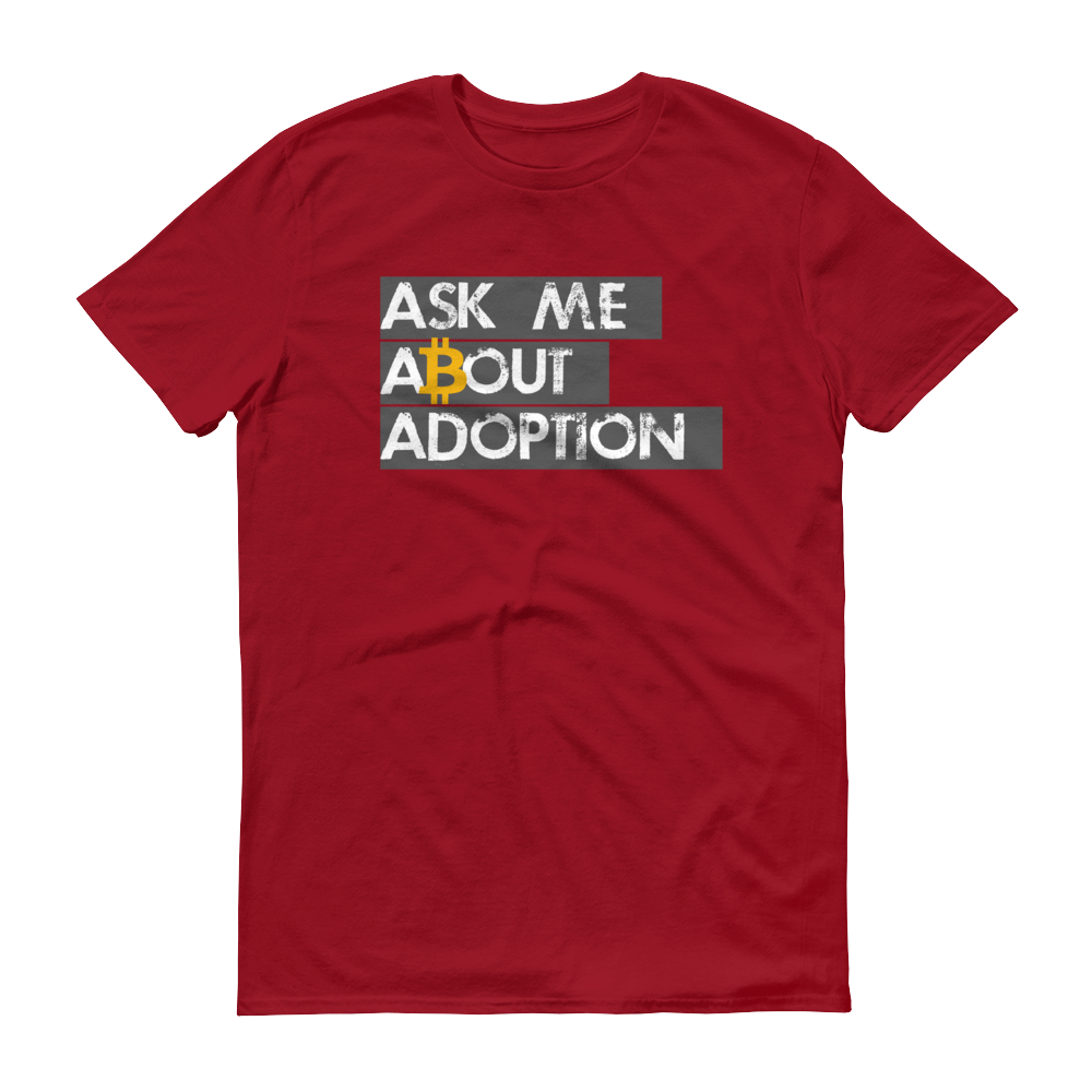 Ask Me About Adoption Bitcoin Short-Sleeve T-Shirt Independence Red S - zeroconfs