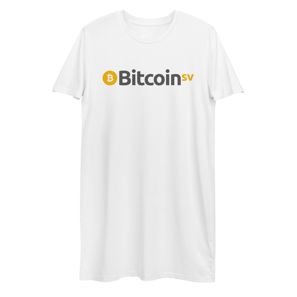 Bitcoin SV Premium T-Shirt Dress White XS - zeroconfs