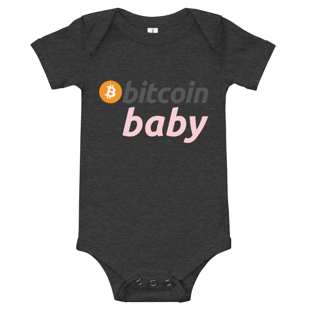 Bitcoin Baby Pink Logo Bodysuit Dark Grey Heather 3-6m - zeroconfs