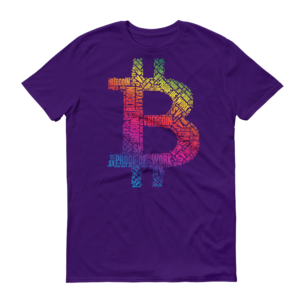 Bitcoin SV Proof Of Work Short-Sleeve T-Shirt Purple S - zeroconfs