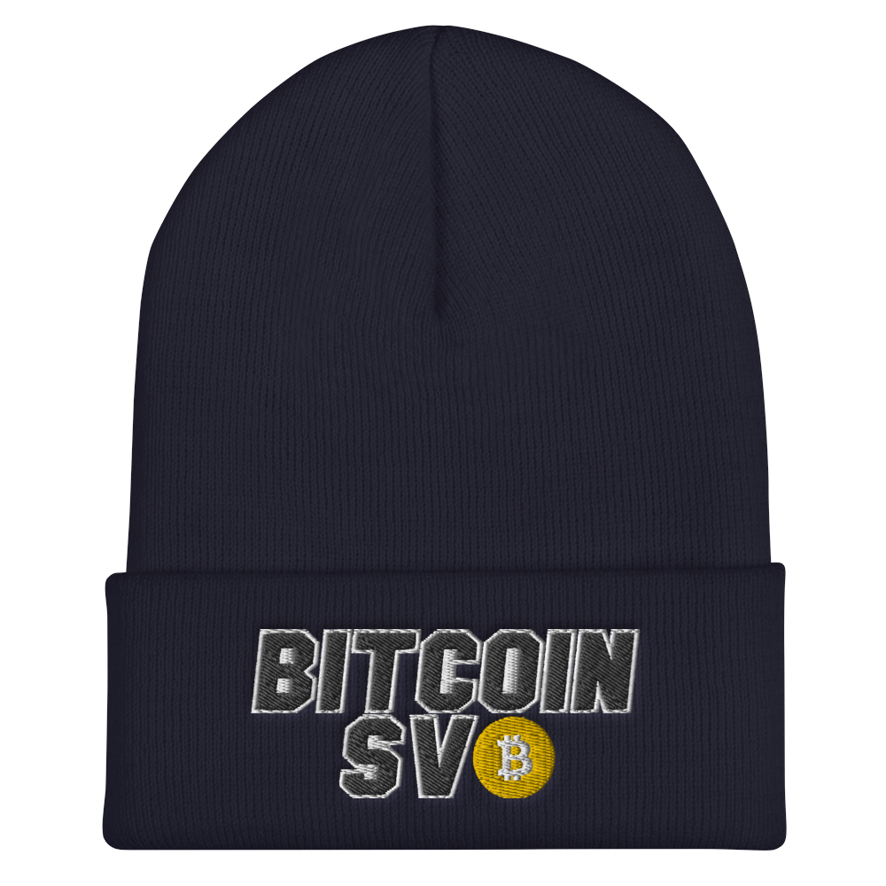 Bitcoin SV Sports Cuffed Beanie Navy  - zeroconfs