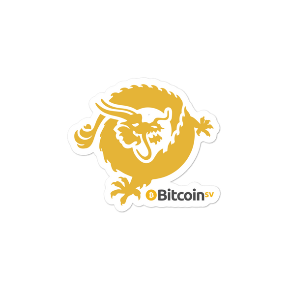 Bitcoin SV Dragon Bubble-Free Vinyl Stickers 3x3  - zeroconfs