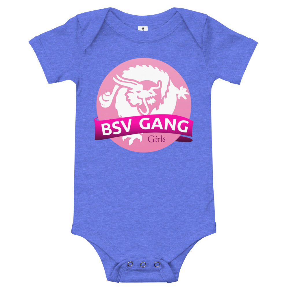 Bitcoin SV Gang Girls Baby Bodysuit Heather Columbia Blue 3-6m - zeroconfs