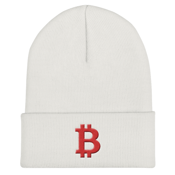 Bitcoin B Cuffed Beanie Red White  - zeroconfs