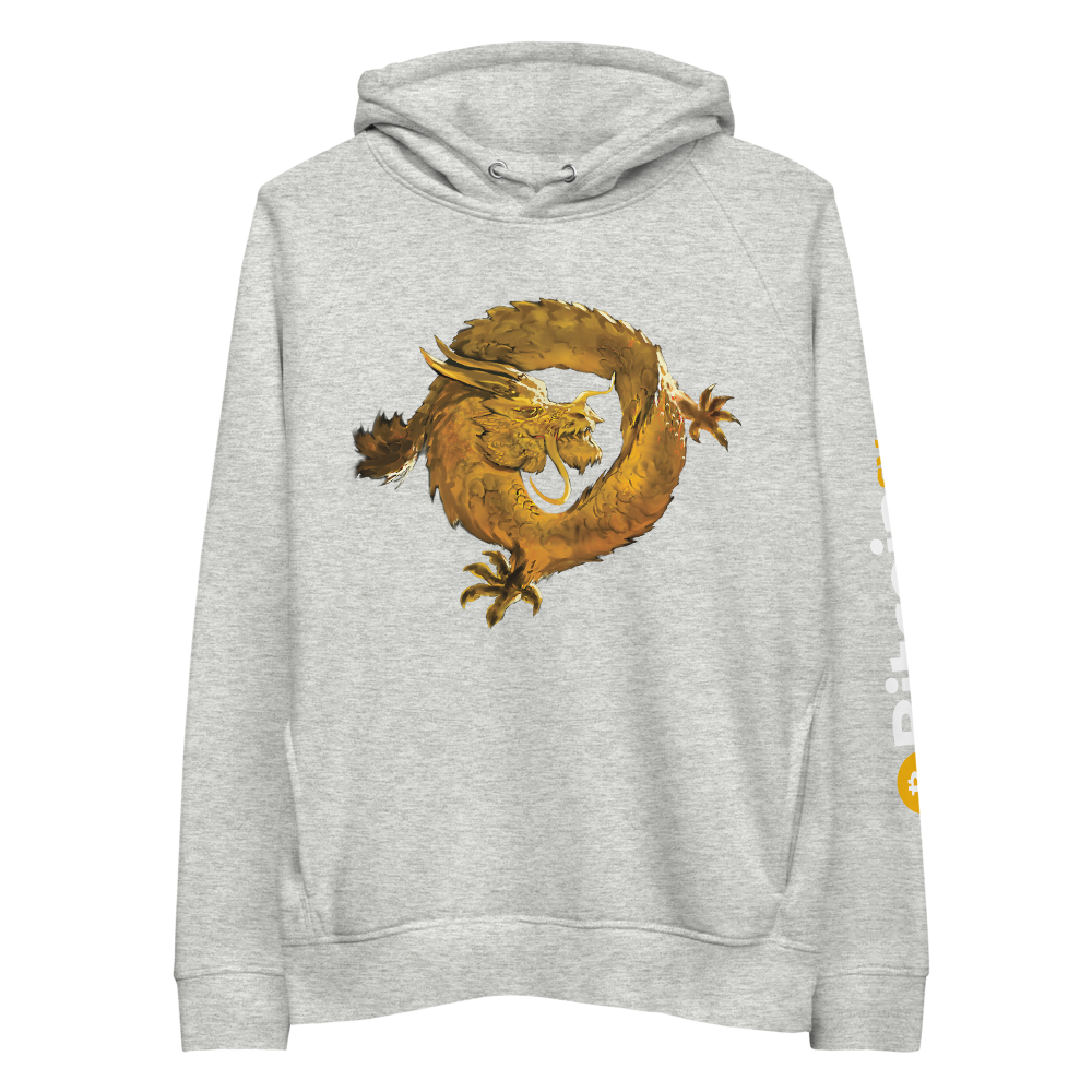 Bitcoin SV Woken Dragon Premium Eco Hoodie Sleeve Heather Grey S - zeroconfs