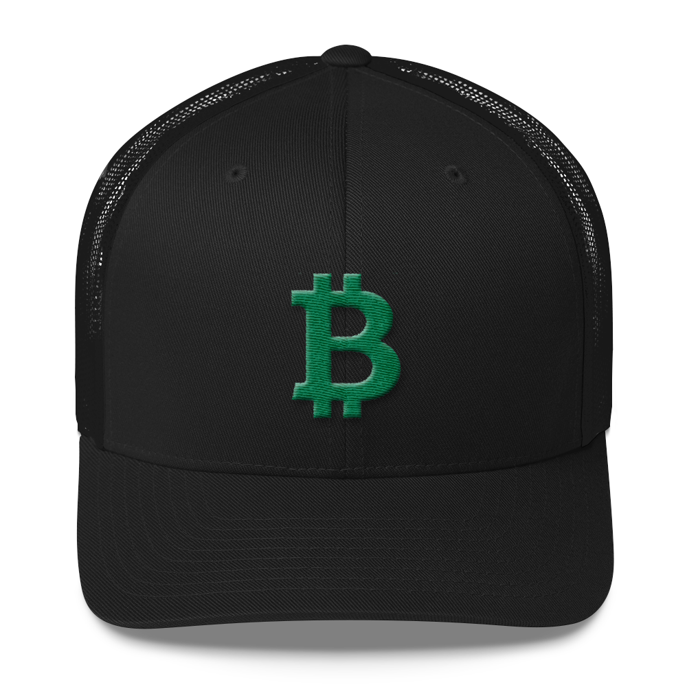 Bitcoin B Trucker Cap Green Black  - zeroconfs