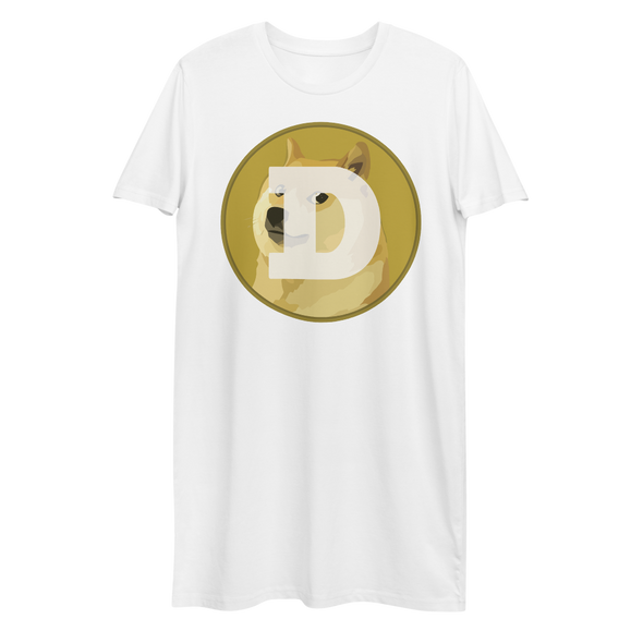 Dogecoin Premium T-Shirt Dress White XS - zeroconfs
