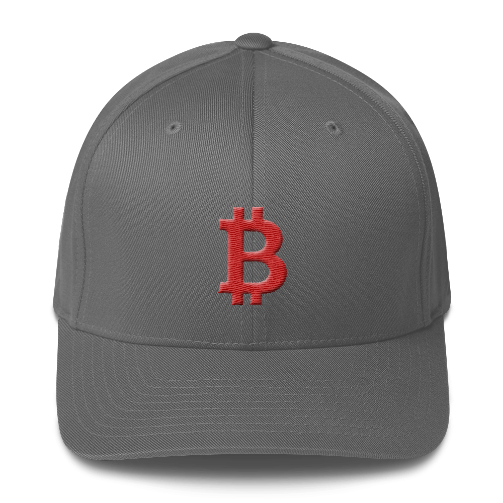Bitcoin B Flexfit Cap Red Grey S/M - zeroconfs