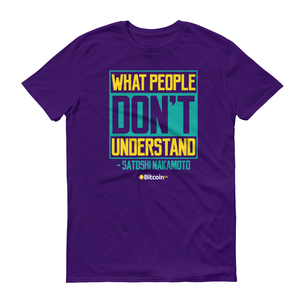 Understand Bitcoin SV Short-Sleeve T-Shirt Purple S - zeroconfs