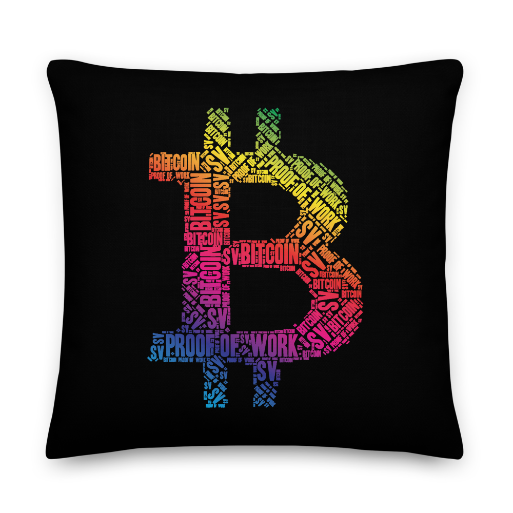 Bitcoin SV Proof Of Work Premium Pillow 22×22  - zeroconfs