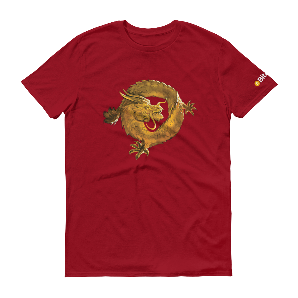 Bitcoin SV Woken Dragon Short-Sleeve T-Shirt Independence Red S - zeroconfs
