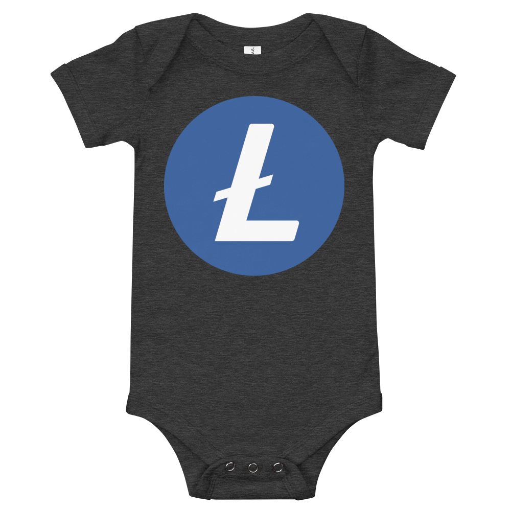Litecoin Baby Bodysuit Dark Grey Heather 3-6m - zeroconfs
