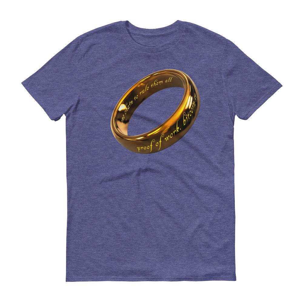 One Chain To Rule Them All Bitcoin SV Short-Sleeve T-Shirt Heather Blue S - zeroconfs