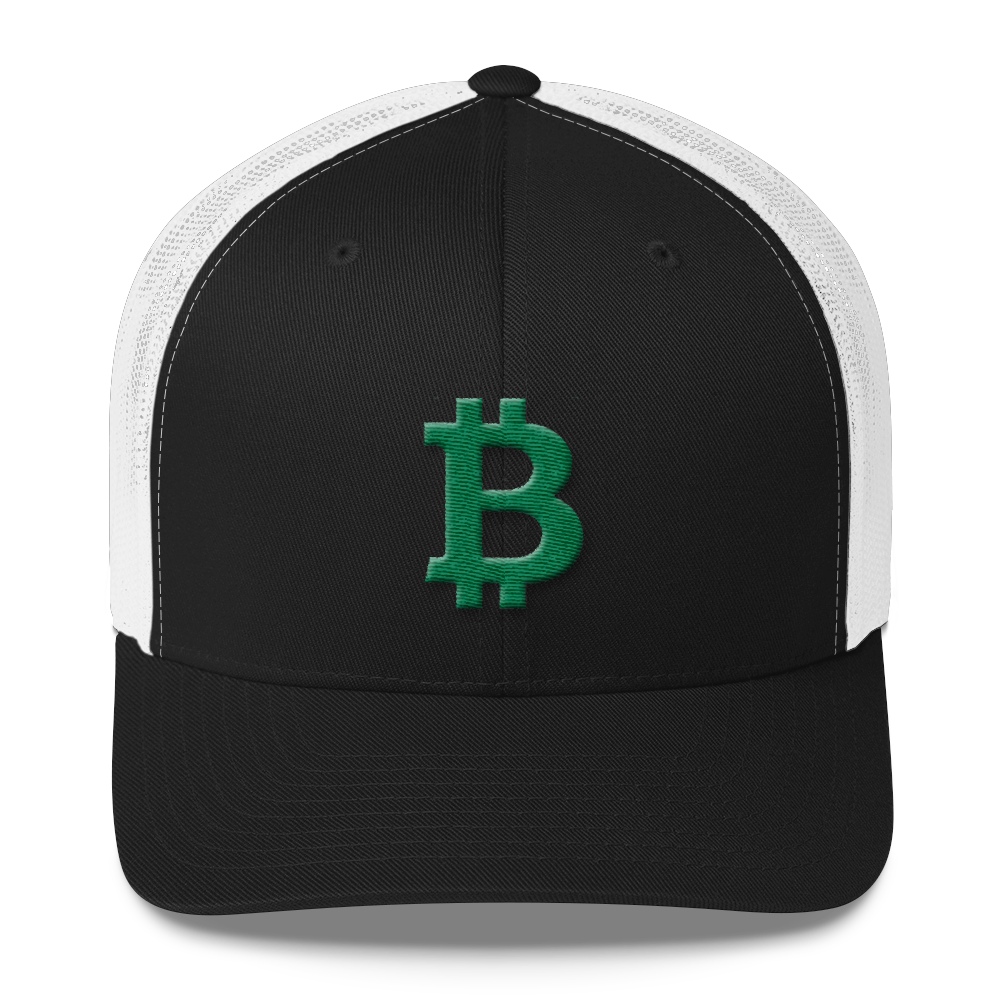 Bitcoin B Trucker Cap Green Black/ White  - zeroconfs