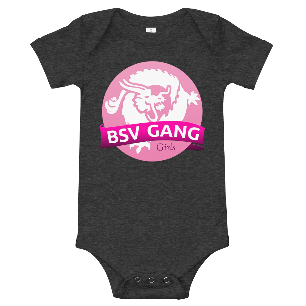 Bitcoin SV Gang Girls Baby Bodysuit Dark Grey Heather 3-6m - zeroconfs