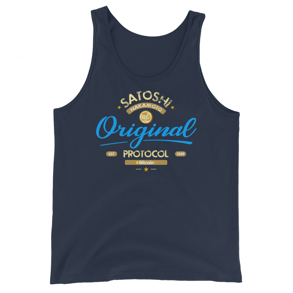 Original Bitcoin Tank Top Navy XS - zeroconfs