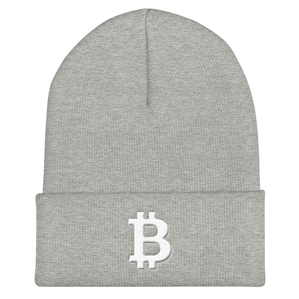Bitcoin B Cuffed Beanie White Heather Grey  - zeroconfs