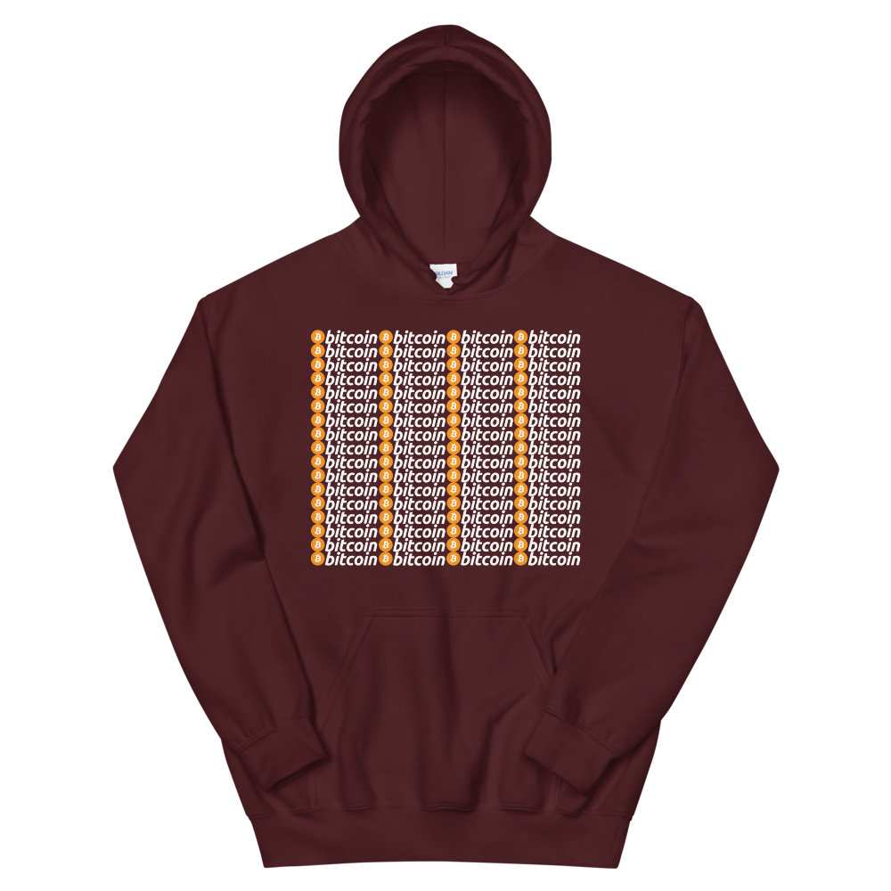 Bitcoins Hooded Sweatshirt Maroon S - zeroconfs