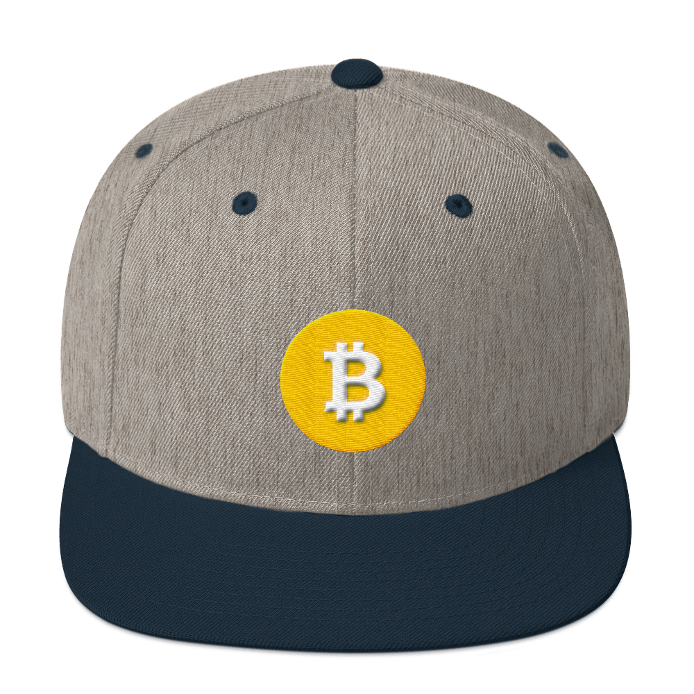 Bitcoin SV Logo Snapback Hat Heather Grey/ Navy  - zeroconfs