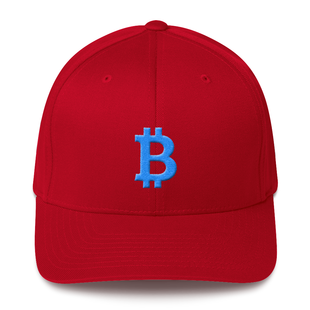 Bitcoin B Flexfit Cap Teal Red S/M - zeroconfs