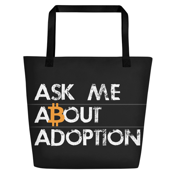 Ask Me About Adoption Bitcoin Beach Bag Black  - zeroconfs