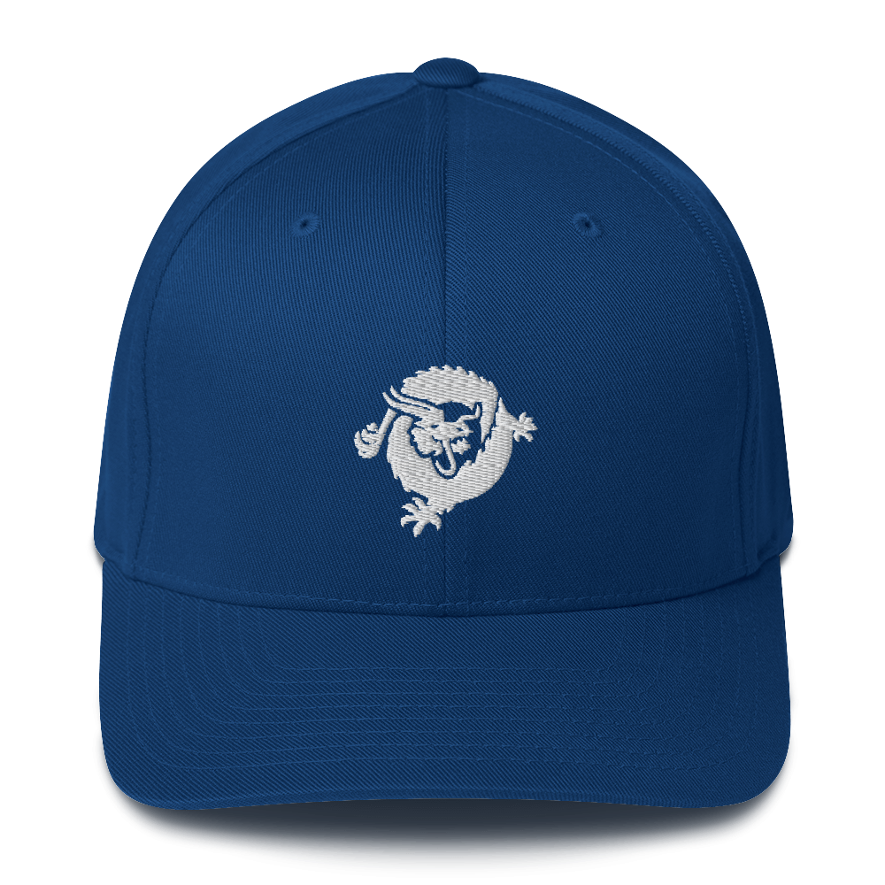 Bitcoin SV Dragon Flexfit Cap White Royal Blue S/M - zeroconfs