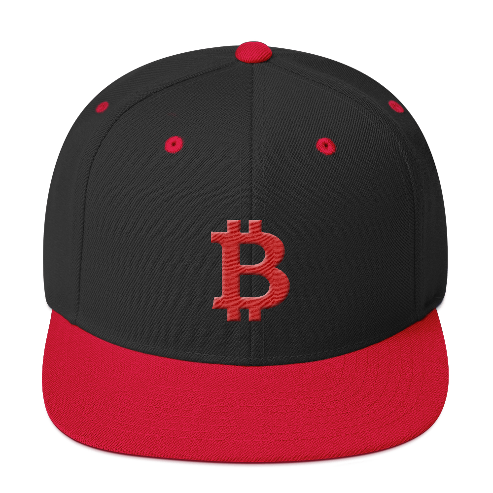 Bitcoin B Snapback Hat Red Black/ Red  - zeroconfs