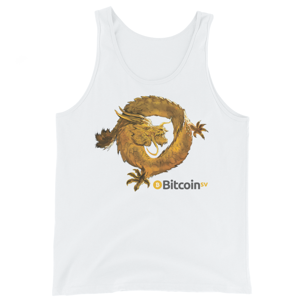 Bitcoin SV Woken Dragon Tank Top White XS - zeroconfs