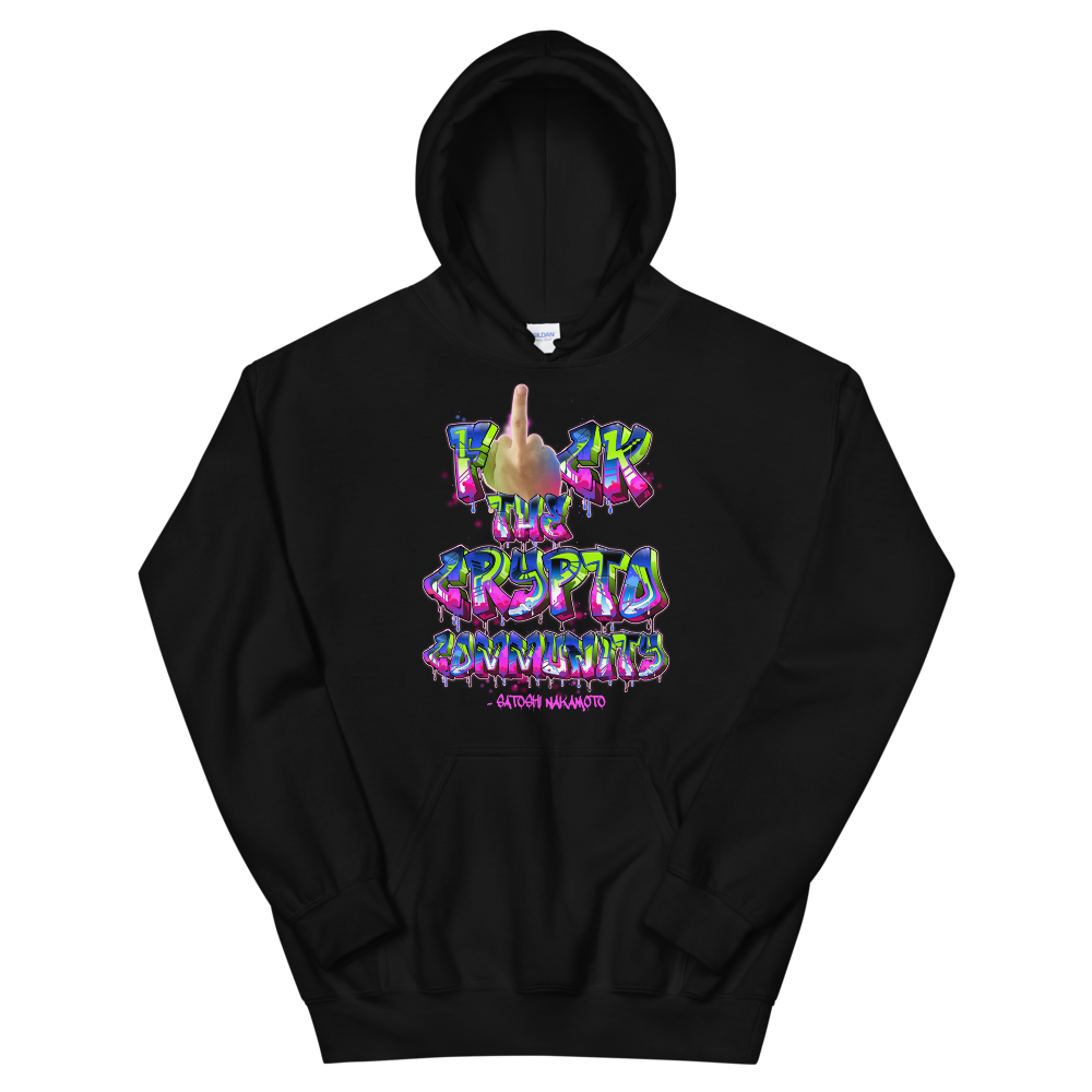 Fck The Crypto Community Hooded Sweatshirt Black S - zeroconfs