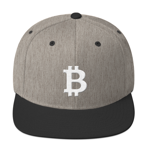 Bitcoin B Snapback Hat White Heather/Black  - zeroconfs